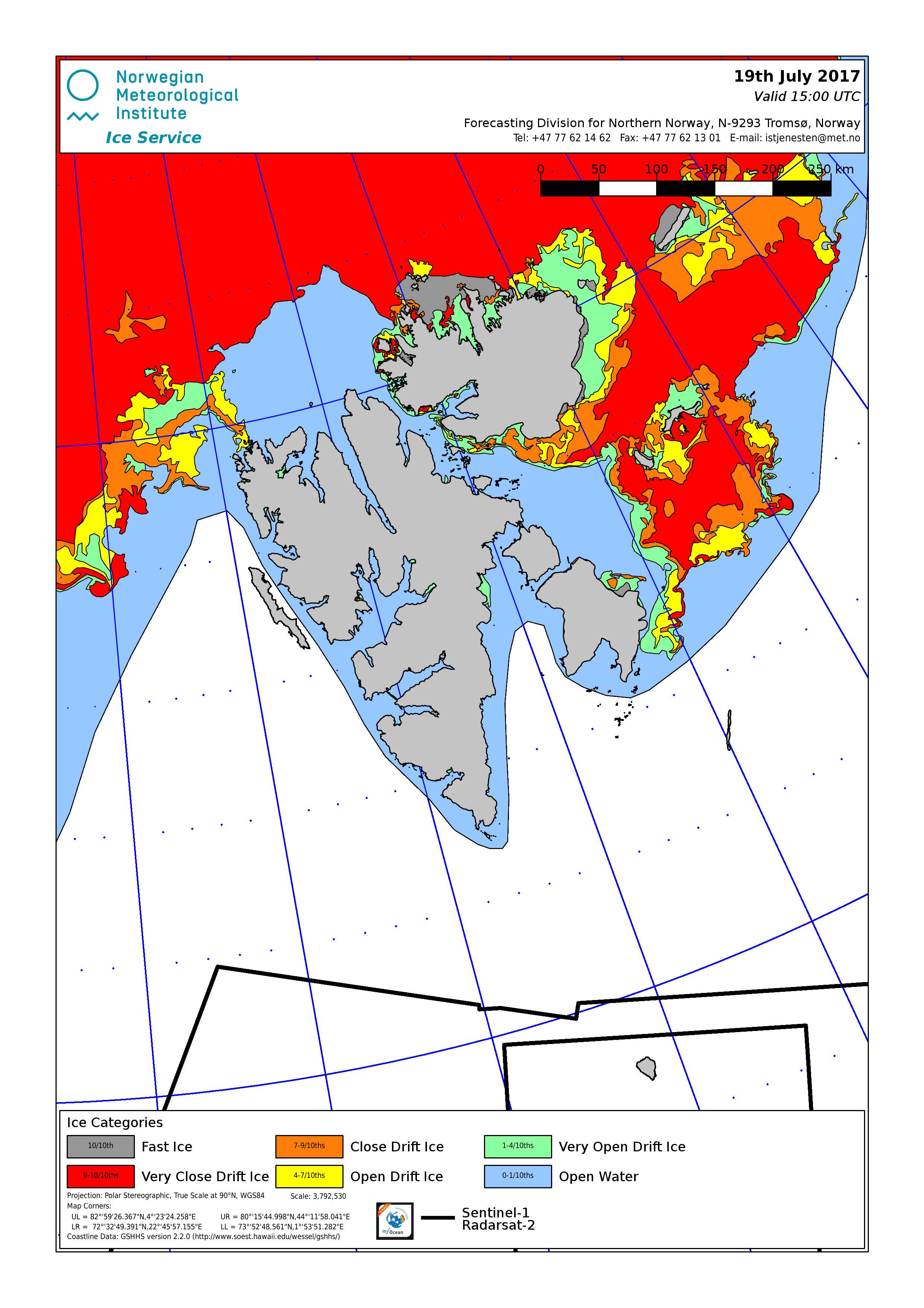 Svalbard ice chart for 19th July 2017, showing ice all around the eastern islands and nearby to the north