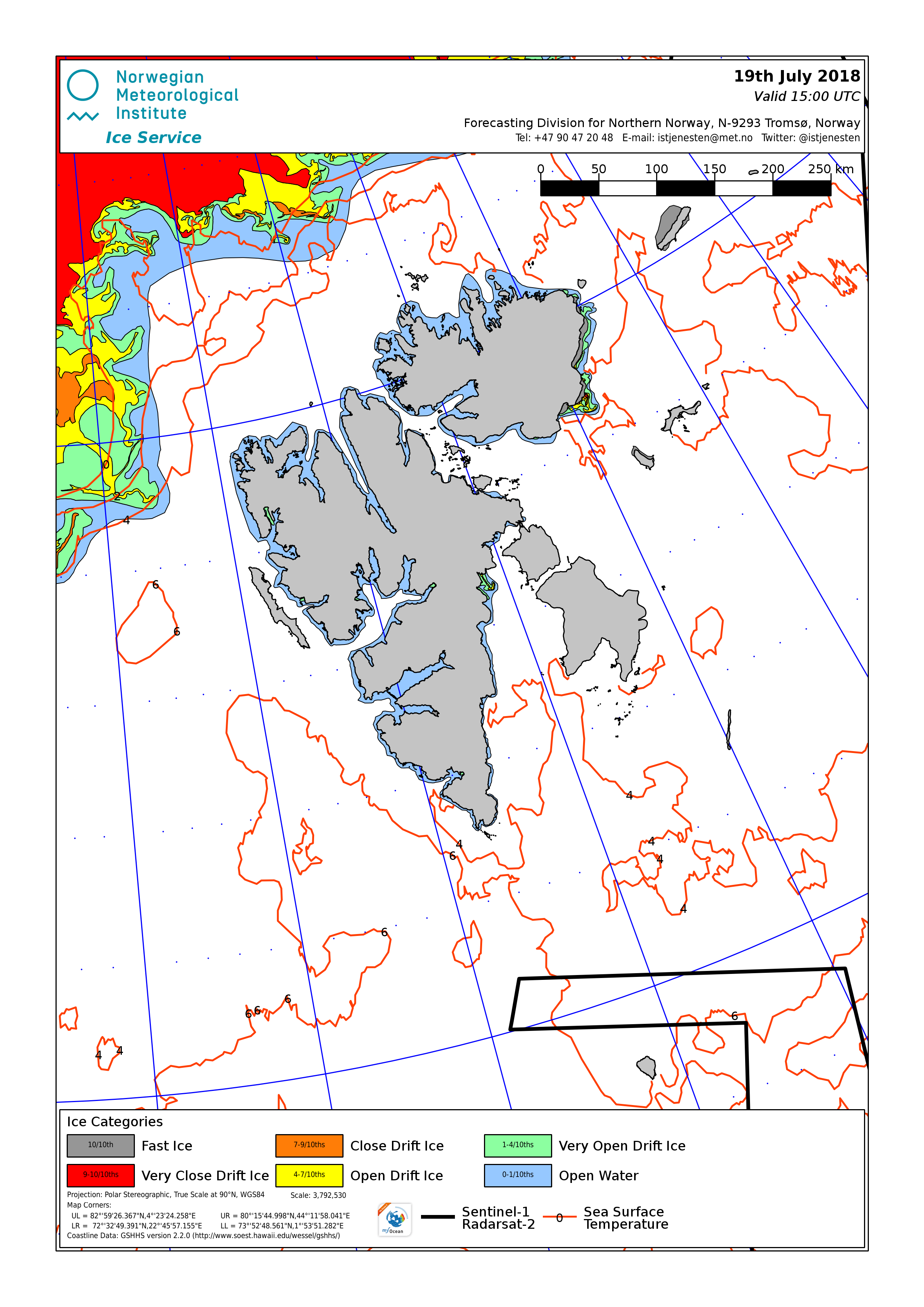 Svalbard ice chart for 19th July 2018, showing ice far to the north of the islands and nowhere else